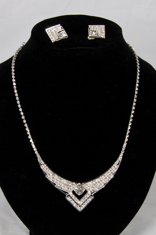 Swarovski Crystal Necklace Earrings Set for Prom or Bridal Jewel